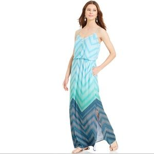 Vince Camuto Green Striped Chevron Maxi Dress